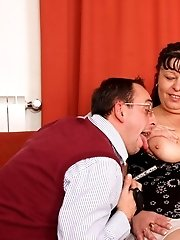The mature threesome features two guys using her fat body and getting a lot out of it