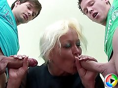 The guys fuck their mature teacher and then they cum on her wrinkled old face