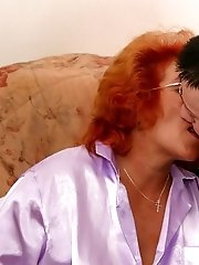 Mature lady and her young lover took a drink and started to fuck each other like a rabbits