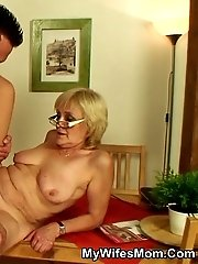 The granny is a slut for cock and any way he wants to give it to her she will receive it